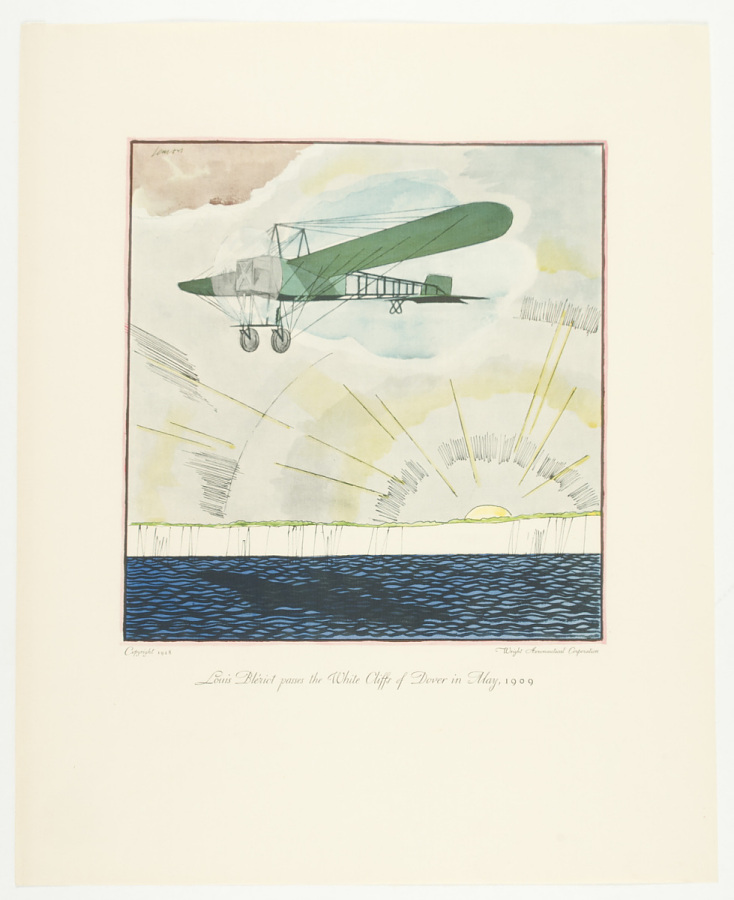 Print, Planographic Process on Paper, Colored, LOUIS BLÉRIOT PASSES THE WHITE CLIFFS OF DOVER IN MAY, 1909.  FLIGHTS. UNFORGETTABLE EXPLOITS OF THE AIR. DRAWINGS BY FRANK LEMON. PUBLISHED PRIVATELY BY THE WRIGHT AERONAUTICAL CORPORATION FOR CHRISTMAS 1928. NO. 35.