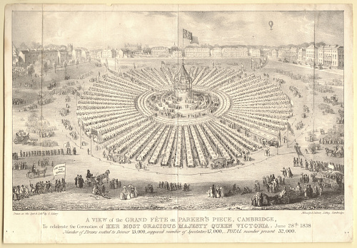 A View of the Grand Féte on Parker's Piece, Cambridge, To celebrate the Coronation of Her Most Gracious Majesty Queen Victoria, June 28th, 1838