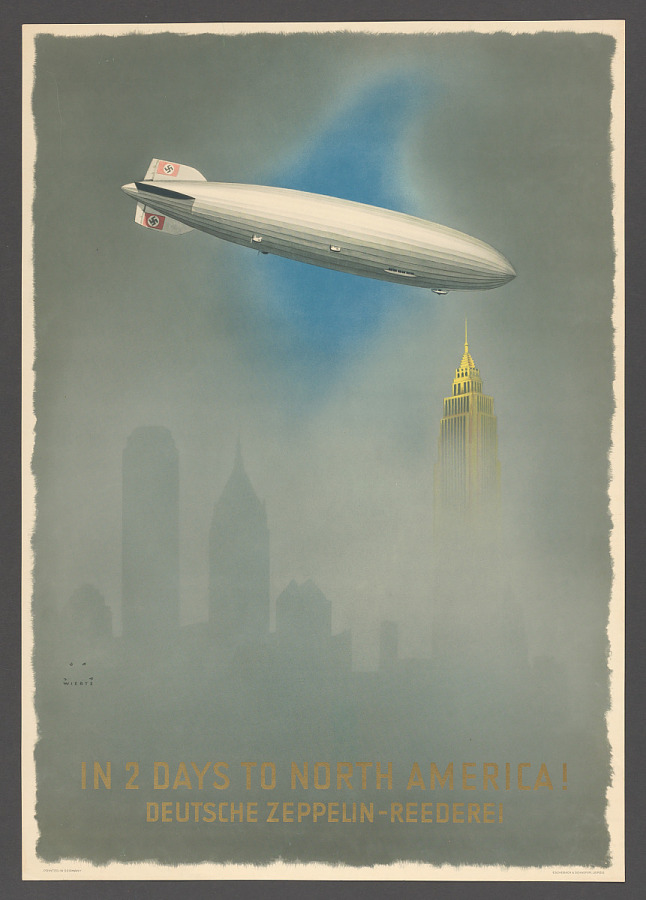 Poster, Advertising, Commercial Aviation, DEUTSCHE ZEPPELIN-REDEREI IN 2 DAYS TO NORTH AMERICA!
