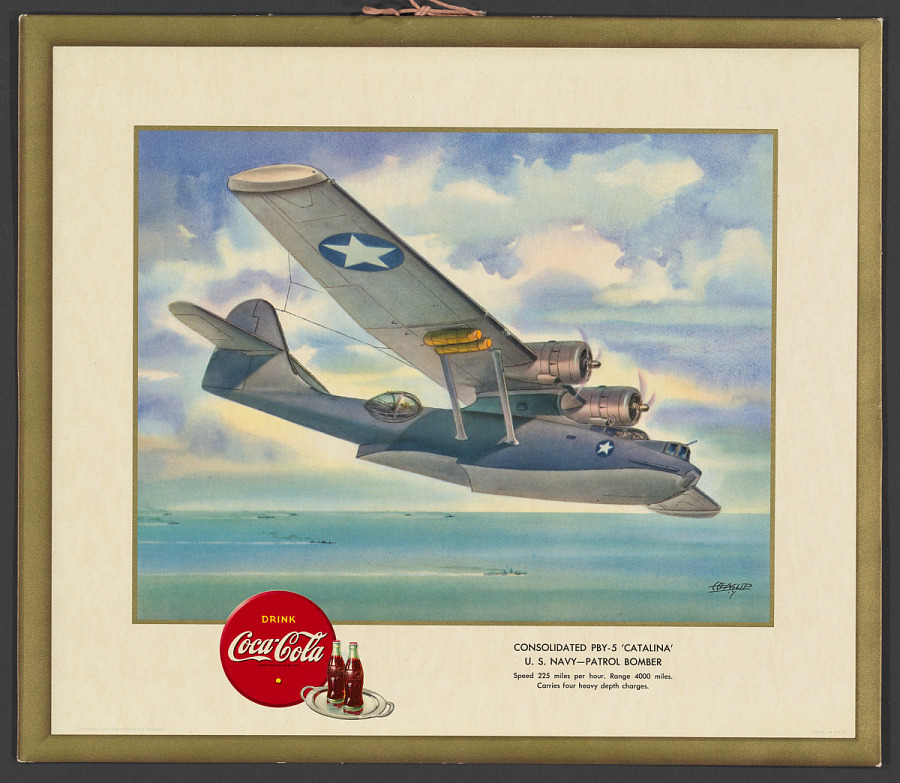 """Poster, Advertising, CONSOLIDATED PBY-5 """"CATALINA"""" U.S. NAVY - PATROL BOMBER"""