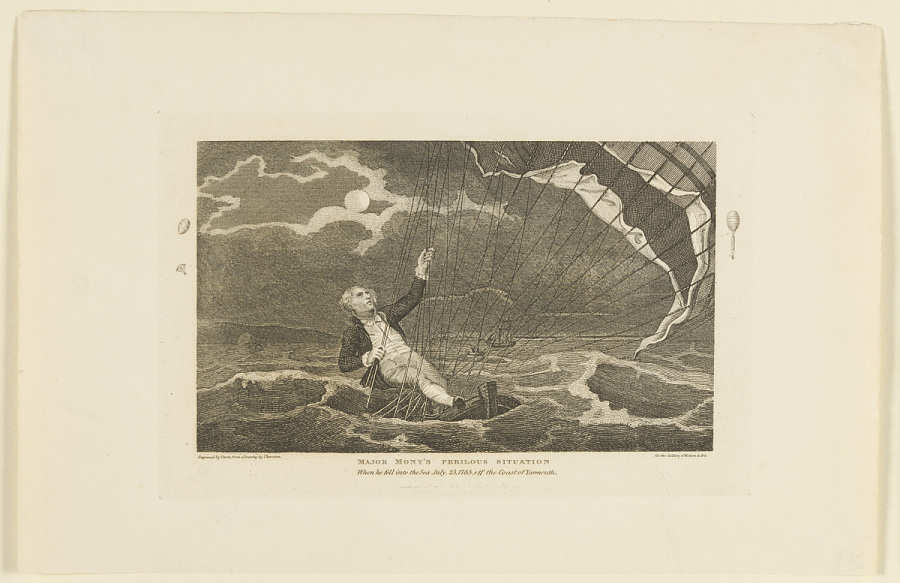 Major Mony's Perilous Situation When he fell into the Sea July, 23, 1785, off the Coast of Yarmouth.