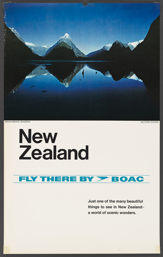 Poster, Advertising, Commercial Aviation, NEW ZEALAND FLY THERE BY BOAC