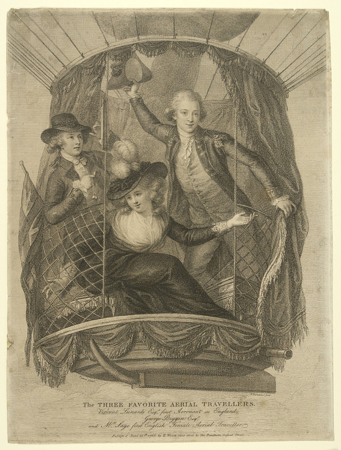 Print, Etching on Paper, Uncolored, THE THREE FAVORITE AERIAL TRAVELLERS. VINCENT LUNARDI ESQR. FIRST AERONAUT IN ENGLAND. GEORGE BIGGIN ESQR. AND MRS. SAGE FIRST ENGLISH FEMALE AERIAL TRAVELLER.