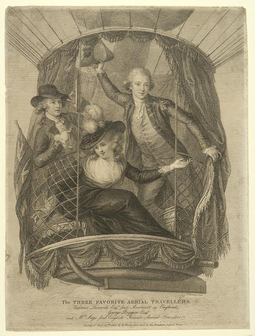 The Three Favorite Aerial Travellers. Vincent Lunardi Esqr. first Aeronaut in England. George Biggin Esqr. and Mrs. Sage first English Female Aerial Traveller.