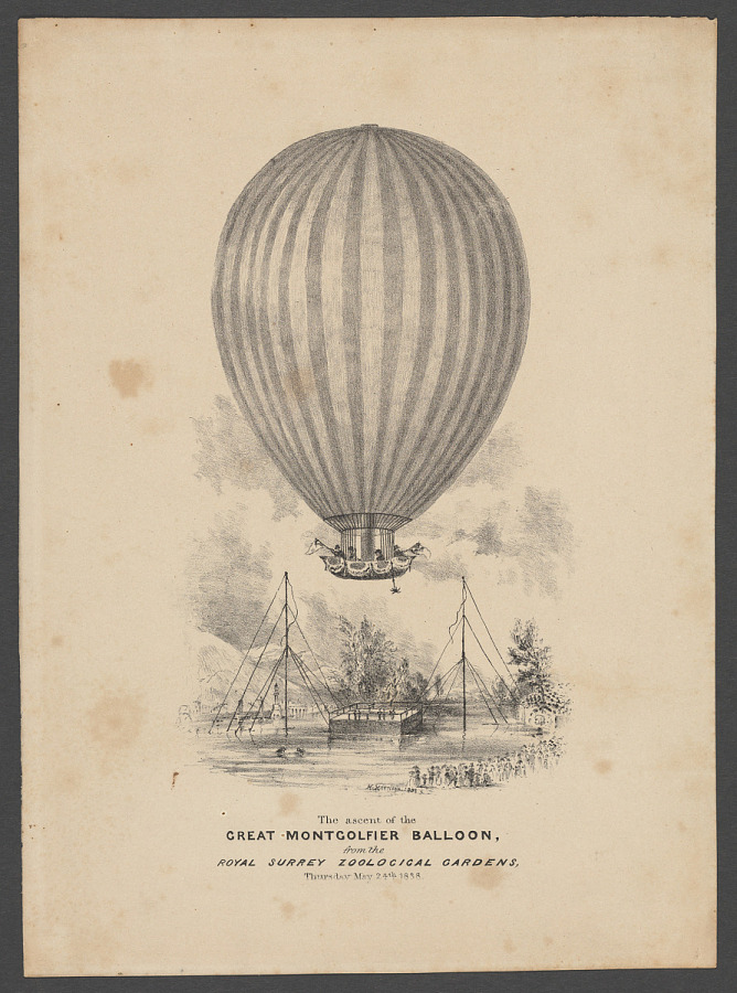 Print, Lithograph on Paper, THE ASCENT OF THE GREAT MONTGOLFIER BALLOON