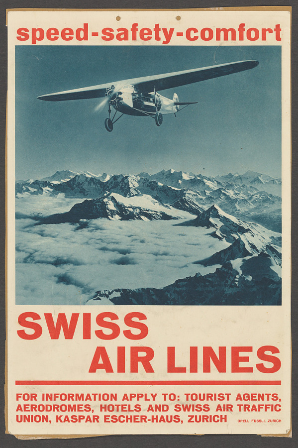 Poster, Advertising, Commercial Aviation, SWISS AIR LINES SPEED SAFETY COMFORT