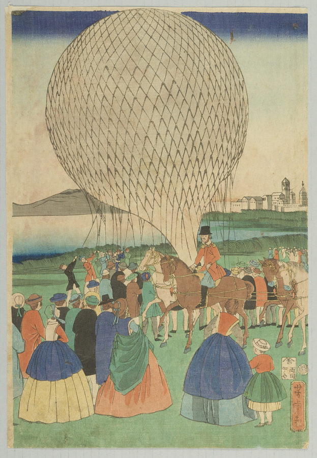 Print, Woodcut on Paper, Colored, BALLOON ASCENSION