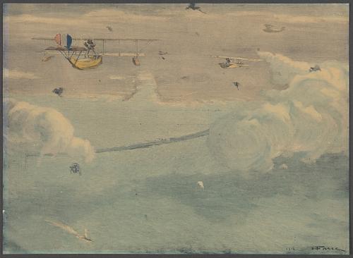 Hydravions français bombardant la digue et le port de Zeebruge