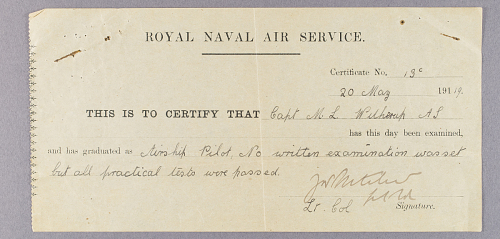 Certificate, Royal Naval Air Service Airship Pilot #130, M. Lester Witherup