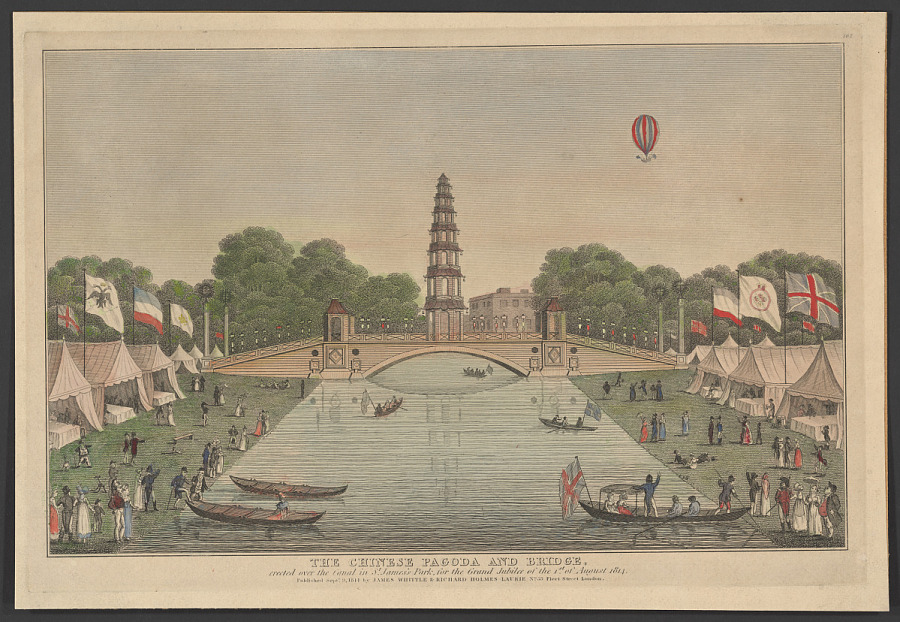 Print, Engraving on Paper, Colored, THE CHINESE PAGODA AND BRIDGE