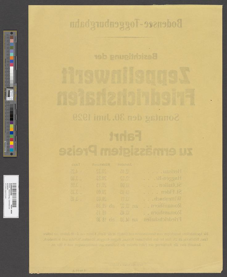 Poster, Advertising, Commercial Aviation, BODENSEE-TOGGENBURGBAHN BESICHTIGUNG DER ZEPPELINWERFT FRIEDRICHSHAFEN