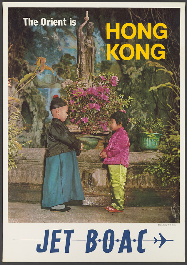 Poster, Advertising, Commercial Aviation, THE ORIENT IS HONG KONG. JET BOAC