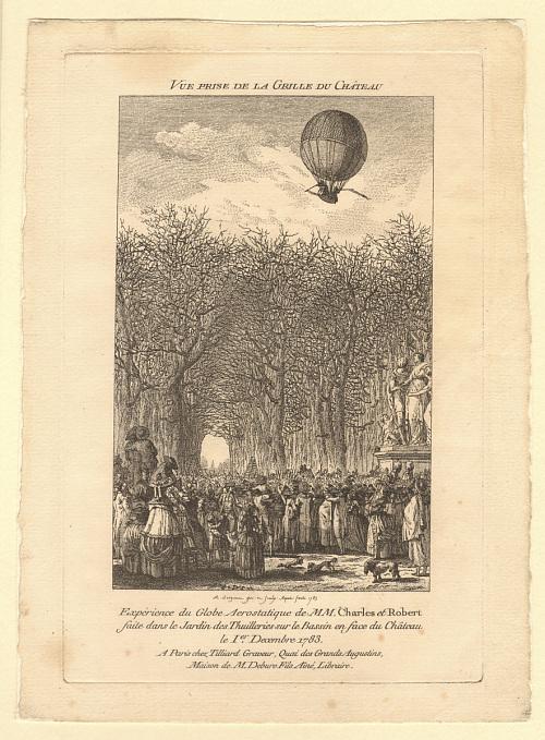 Vue Prise de la Grille du Château. Expérience du Globe Aerostatique de MM. Charles et Robert faite dans le Jardin des Thuilleries sur le Bassin en face du Château 1er Decembre 1783.