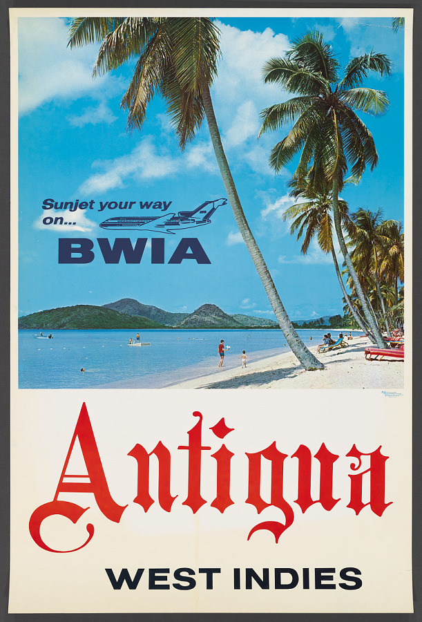 Poster, Advertising, Commercial Aviation, SUNJET YOUR WAY ON BWIA  ANTIGUA