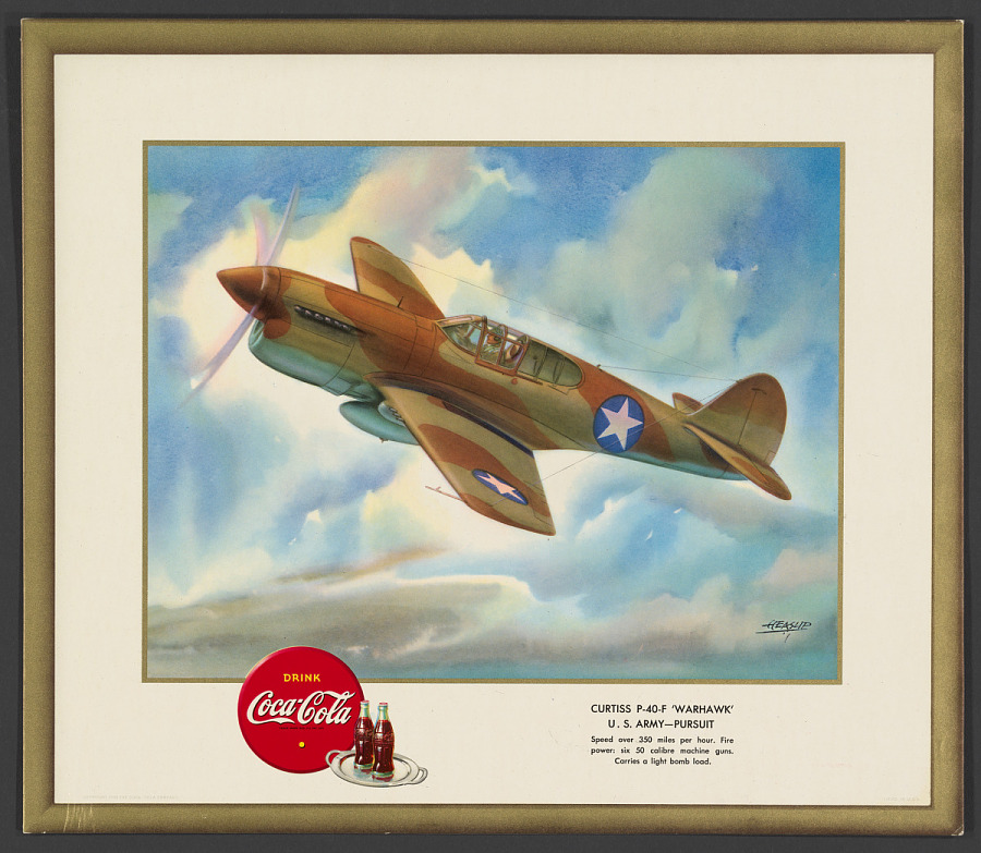 "Poster, Advertising, CURTISS P-40-F ""WARHAWK"" U.S. ARMY - PURSUIT"