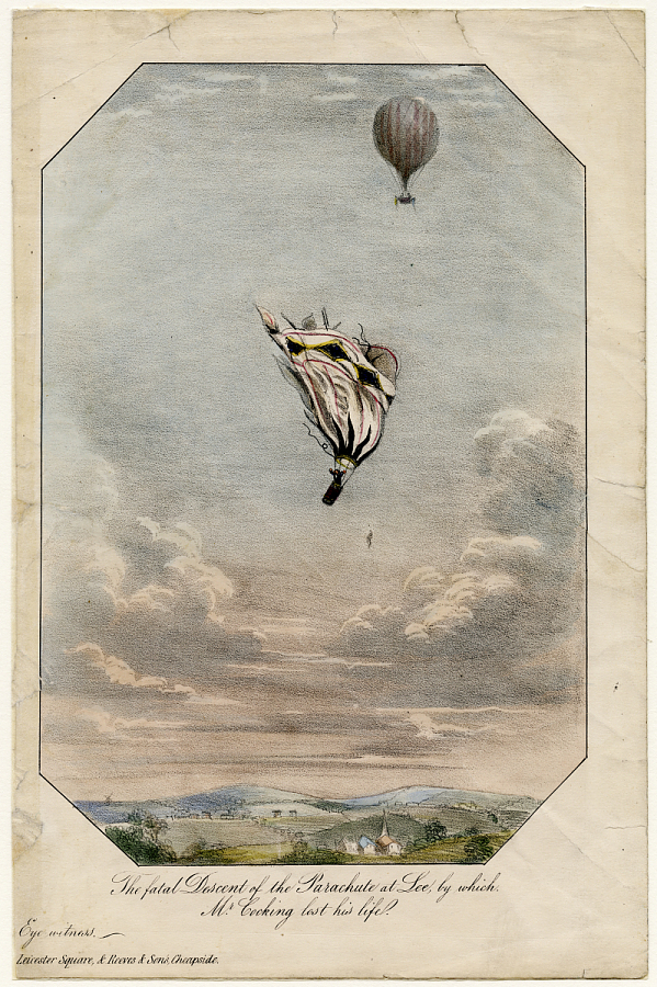 Print, Lithograph on Paper, Colored, THE FATAL DESCENT OF THE PARACHUTE AT LEE, BY WHICH MR. COCKING LOST HIS LIFE.