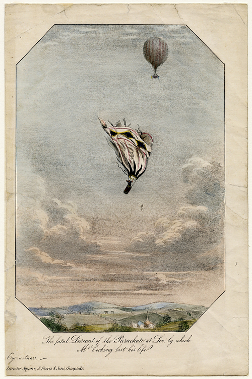 The fatal Descent of the Parachute at Lee, by which Mr. Cocking lost his life.