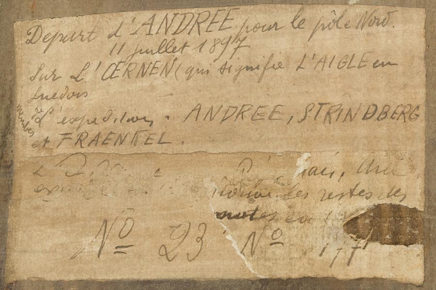 Painting, Oil on Wood Panel, DÉPART D'ANDRÉE POUR LE PÔLE NORD. 11 JULLET 1897 SUR L'OERNEN (QUI SIGNIFE L'ANIGLE EN SUEDOIS.) L'EXPEDITION ANDREE, STIRINBERG ET FRANKEL.
