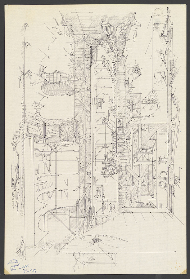 Drawing, Pen and Ink on Paper, LAUNCH TOWER IN VAB