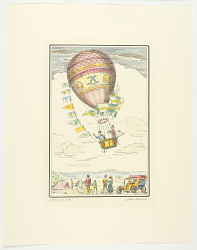 [Unknown: One of a set of four prints of balloons. Observers with car and bicycle watch ascent.]