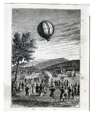 LTA, Balloons, France, Montgolfier Brothers, 1st Unmanned Flight, Annonay (4 Jun 1783). [negative]