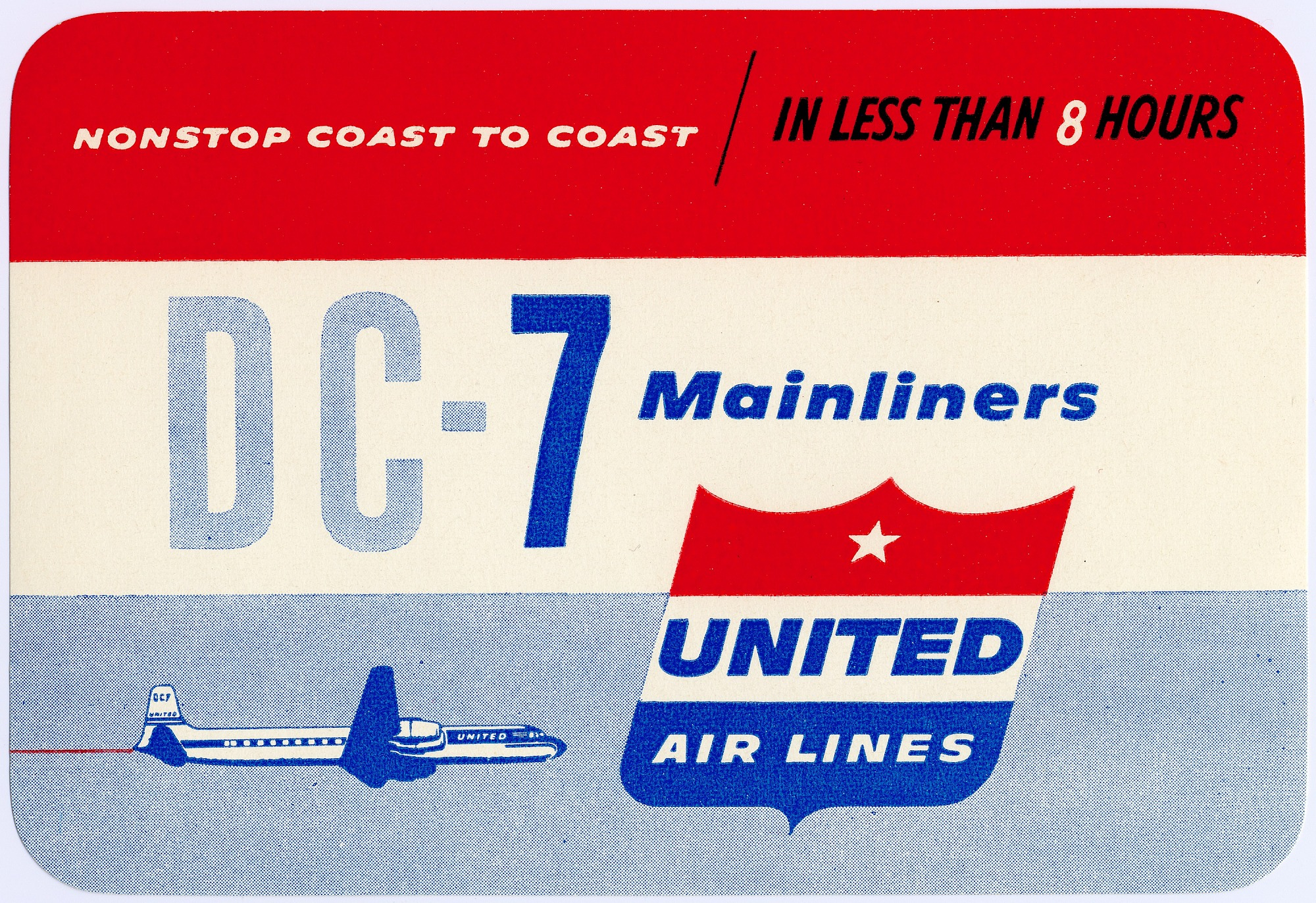 images for United Airlines (USA), 1950s; Logos, Baggage Labels, and Decals; Douglas DC-7. photograph