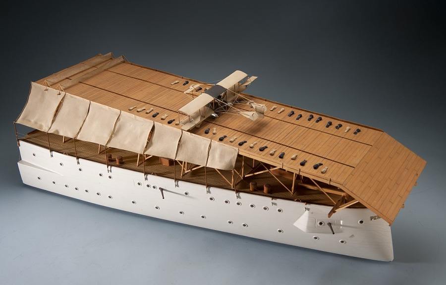 Model, Armored cruiser U.S.S. Pennsylvania with Eugene Ely in Curtiss