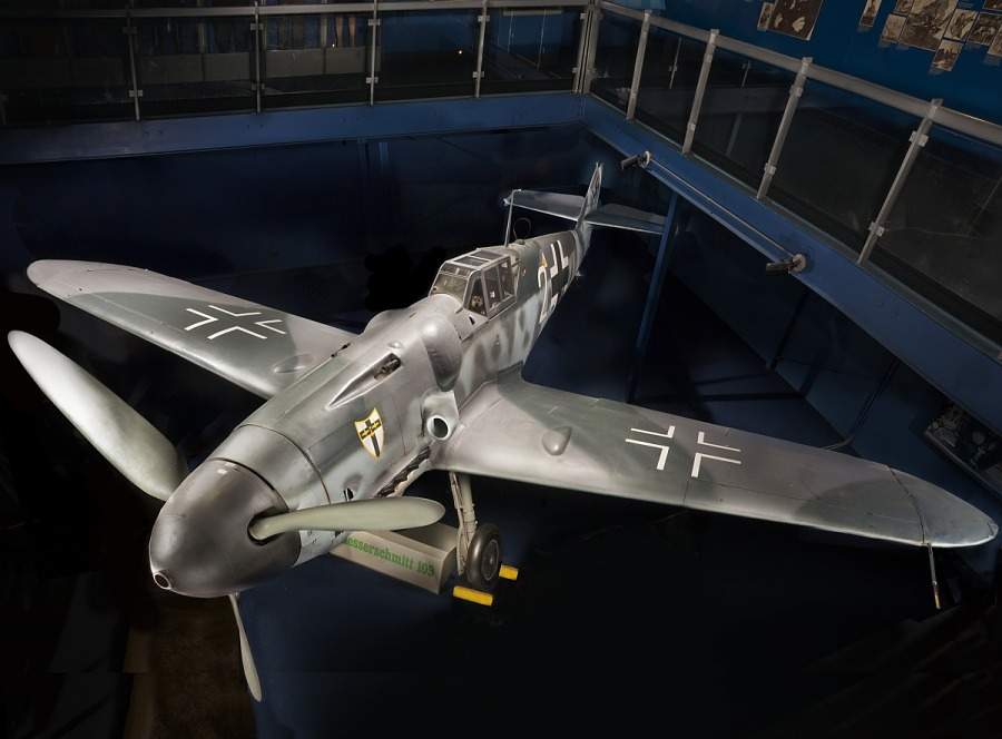 View from above of the Messerschmitt Bf 109 on display in the World War II Aviation gallery at                 the museum