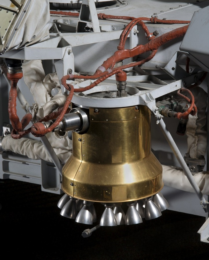 Bell-shaped engine with copper colored wiring on Viking Mars Lander