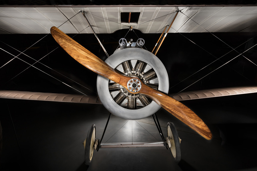 Frontal view of wooden, single-blade propeller on Sopwith F.1 Camel aircraft