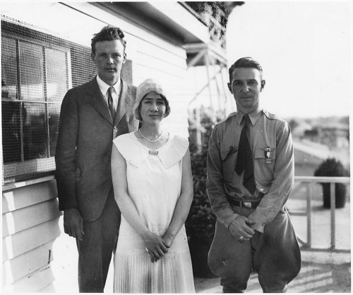 Lindbergh, Charles Augustus; Lindbergh, Anne Morrow; Henderson, Clifford W.; Events, 1929, Cleveland, National Air Races. photograph