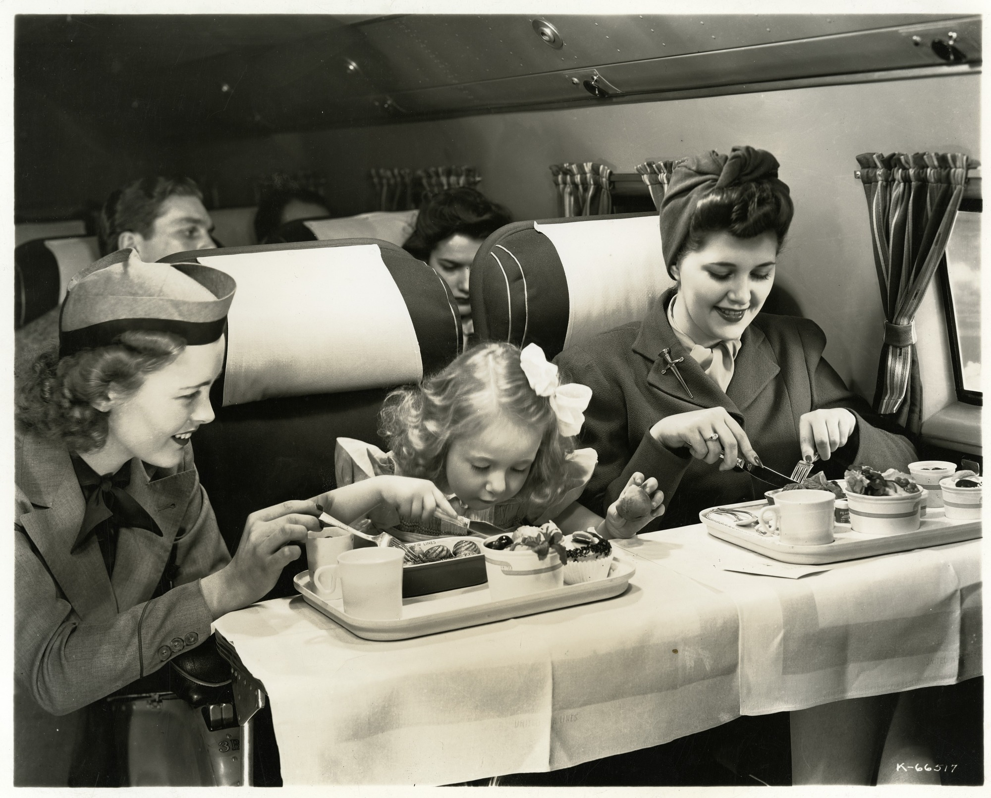 images for Douglas DC-3 (Interior); United Air Lines, Crews, Cabin (Stewardess), Food Service. photograph