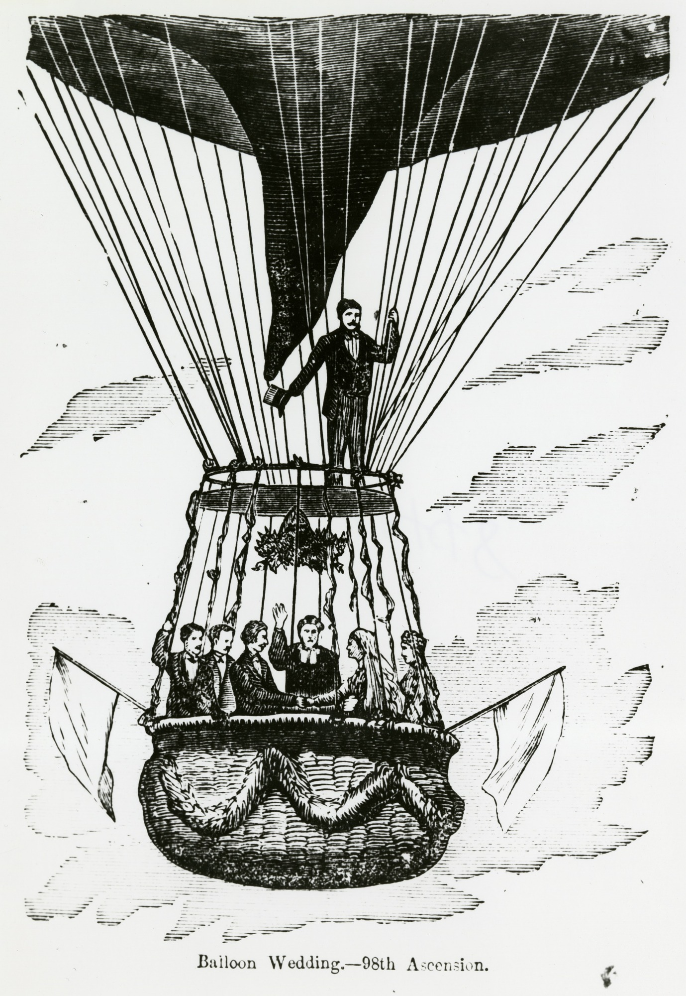 images for LTA, Balloons; USA, Donaldson (Washington H.), 98th Ascension, Balloon Wedding (1874). photograph