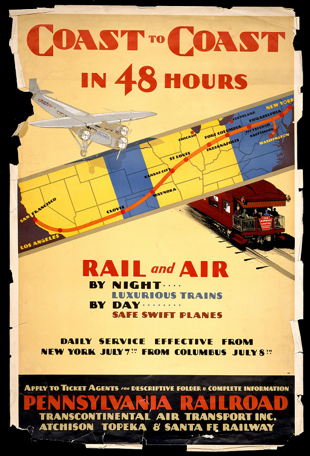 Poster, Advertising, Commercial Aviation, PENNSYLVANIA RAILROAD COAST TO COAST IN 48 HOURS