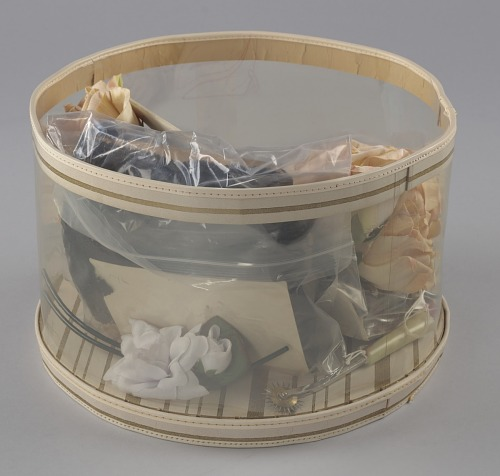 Image for Hat box filled with tools and materials from Mae's Millinery Shop