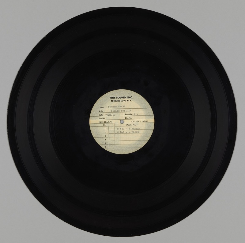 Image 1 for Laquer disc of Billie Holiday master recordings