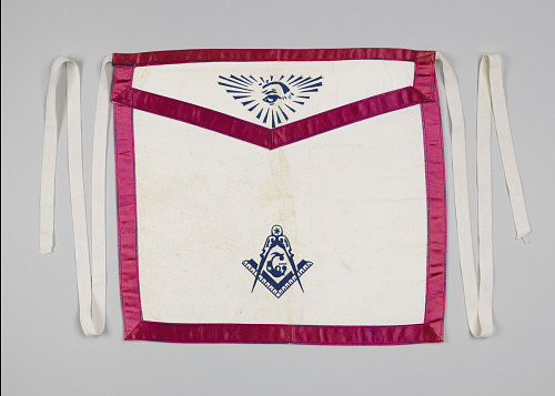 Image for White canvas Masonic apron owned by H.C. Anderson