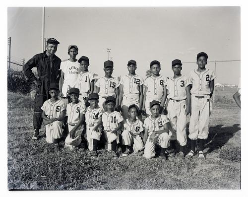 Image for Outdoor Group Shot of Children Wearing Baseball Uniforms, Little League