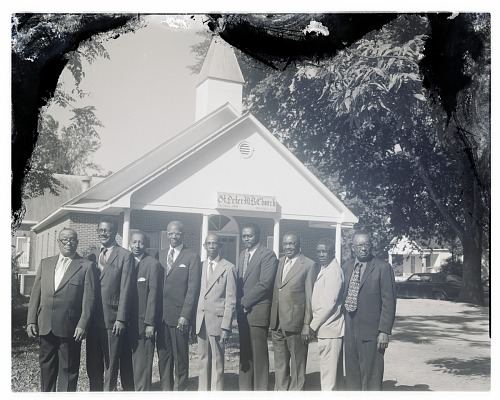 Image for Outdoor Group Shot of Nine Men Standing in front of St. Peter M.B. Church