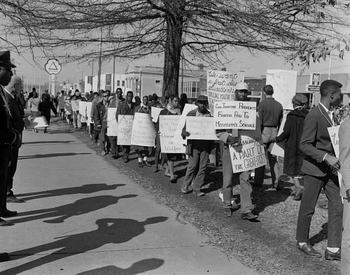 Image for Image of a civil rights protest outside Greenville City Hall