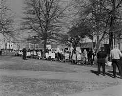 Image of a civil rights protest outside Greenville City Hall