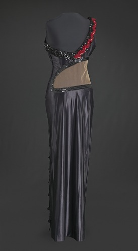 Image for Black satin dress with hand-shaped decoration designed by Peter Davy