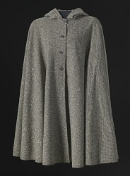 Grey tweed hooded cape designed by Arthur McGee
