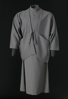 Grey pinstriped dress and jacket designed by Arthur McGee