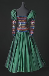 Dark iridescent green and rainbow sequin dress designed by Peter Davy
