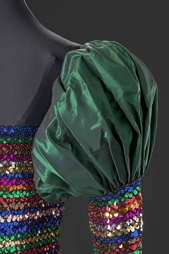 Image for Dark iridescent green and rainbow sequin dress designed by Peter Davy