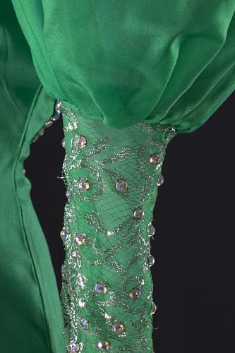 Image for Green dress with silver details and attached necklace designed by Peter Davy