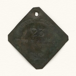 Charleston slave badge from 1850 for Mechanic No. 23