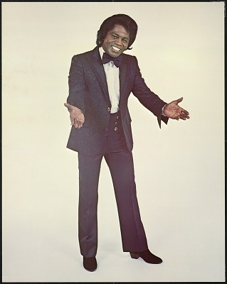 Poster featuring James Brown in a black suit and bowtie