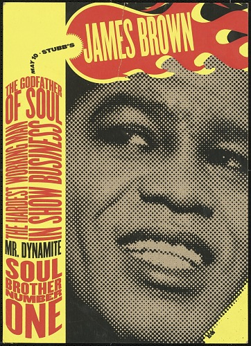 Image for Menu from Stubbs BBQ advertising a James Brown concert